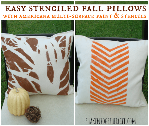 Stenciled Fall Pillows from Shaken Together
