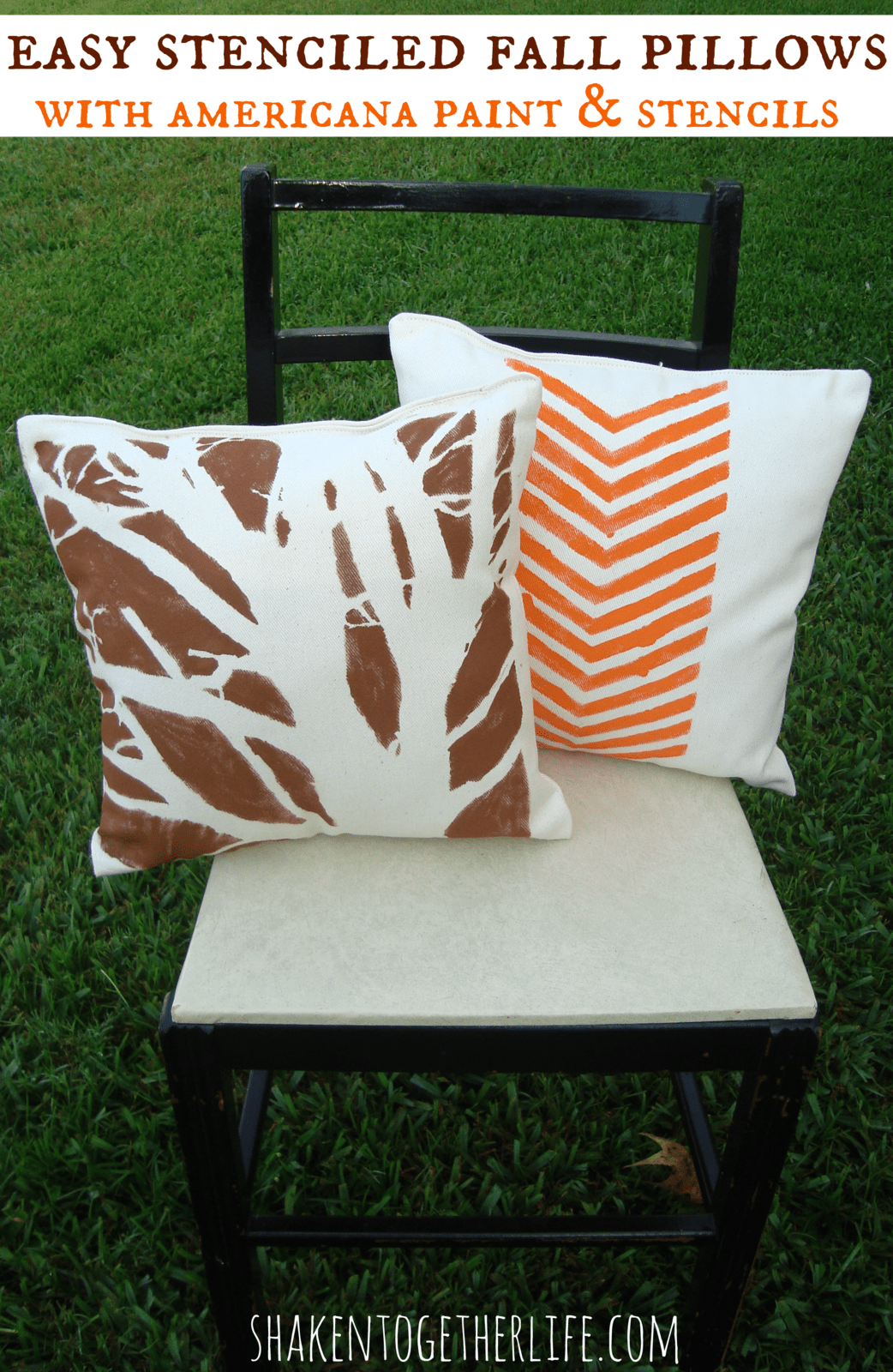 Stenciled Fall Pillows ~ DIY Home Decor with Americana Paints & Stencils