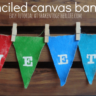 Easy stenciled canvas banner at shakentogetherlife.com