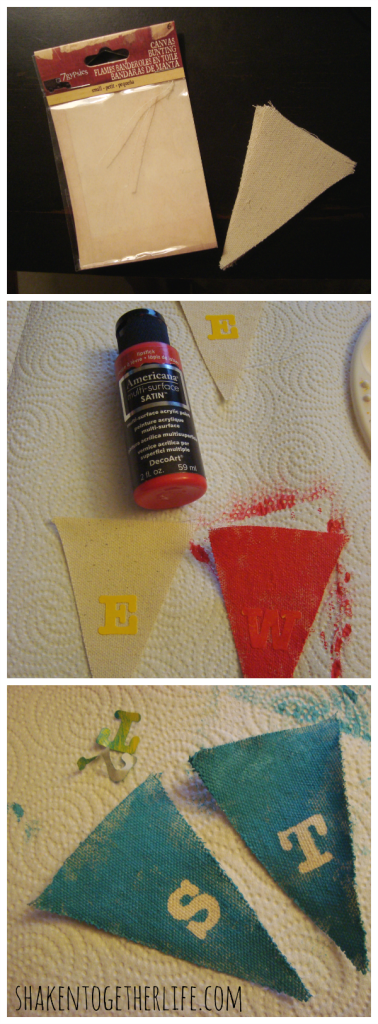 How to make a stenciled canvas banner at shakentogetherlife.com