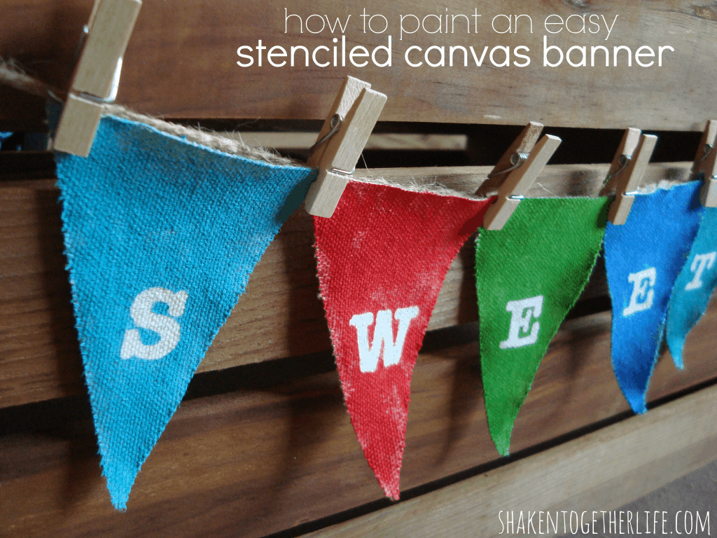 How to paint an easy stenciled canvas banner at shakentogetherlife.com
