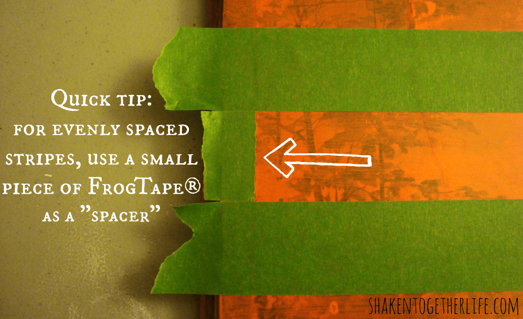 Quick tip for evenly spaced stripes using FrogTape at shakentogetherlife.com
