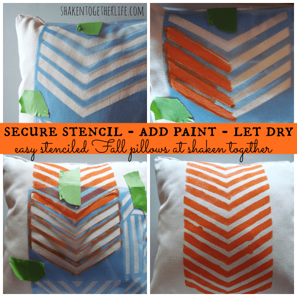 Stenciled Fall pillows with American paint & stencils at shakentogetherlife