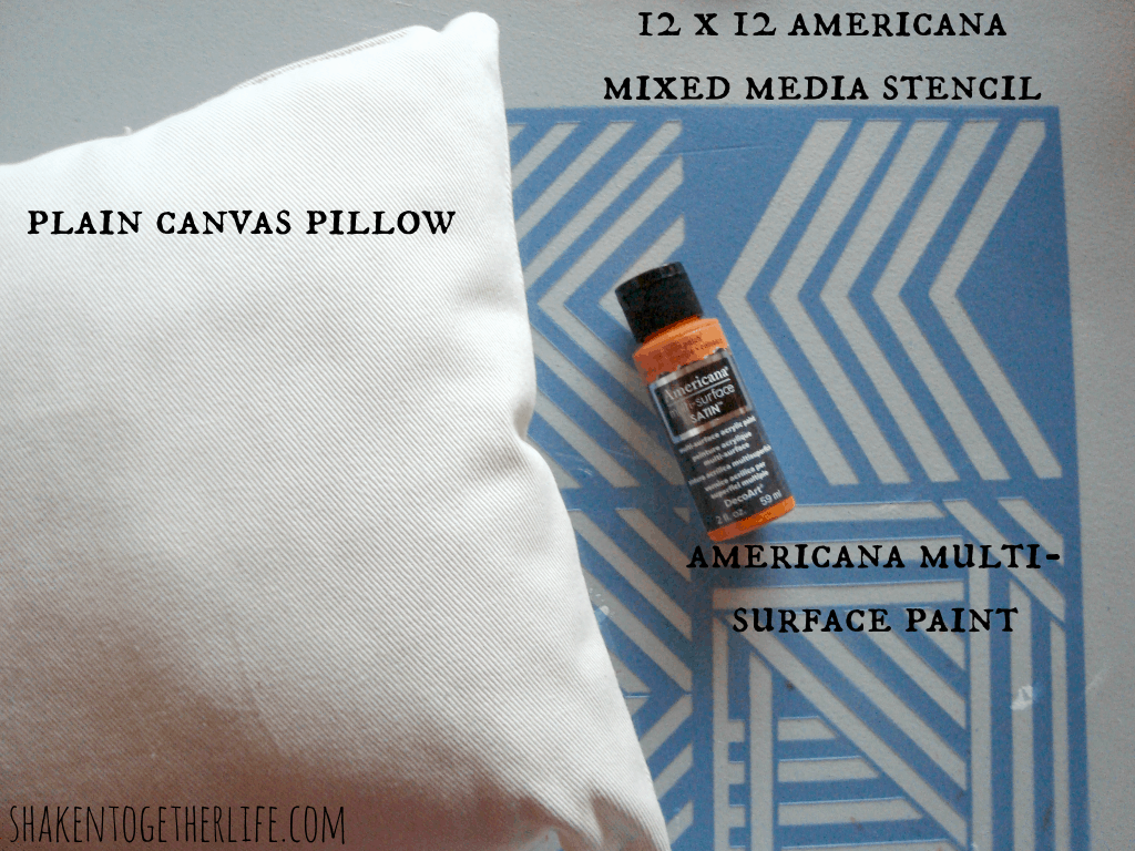 Supplies for easy stenciled Fall pillows at shakentogetherlife.com