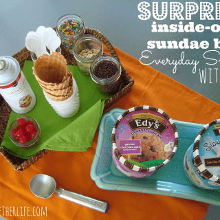 surprise inside out sundae bar with Edy's at shakentogetherlife.com