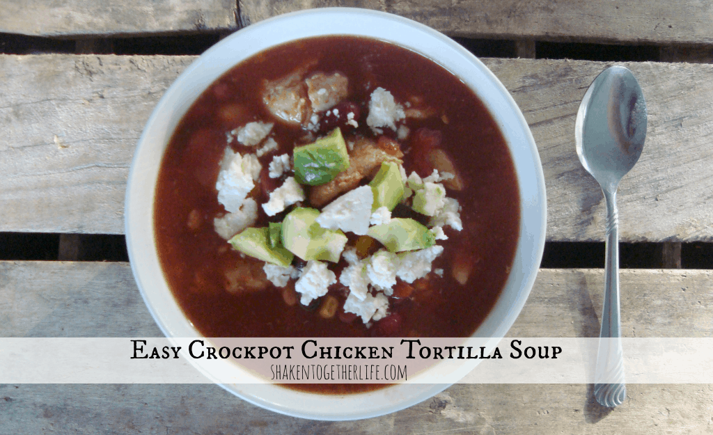 Crockpot chicken tortilla soup at shakentogetherlife.com