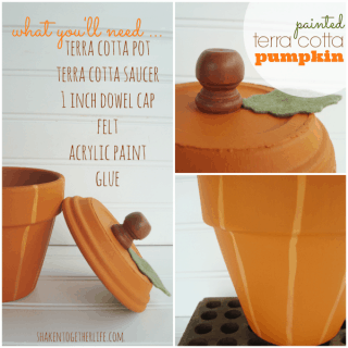 How to make a painted pumpkin from a terra cotta pot & saucer at shakentogetherlife.com