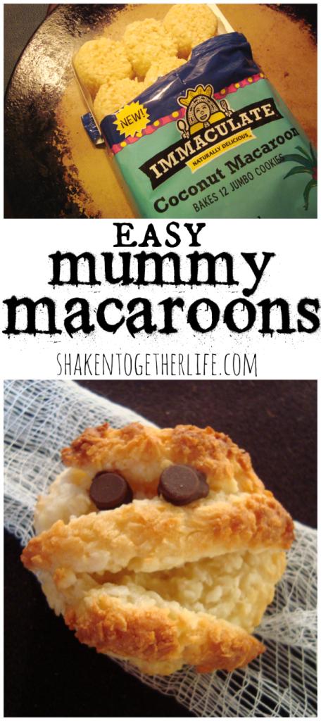 Easy Halloween cookies: mummy macaroons at shakentogetherlife.com