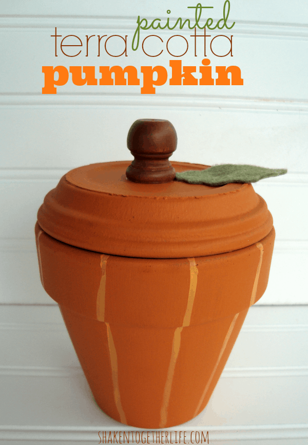 Painted terra cotta pot pumpkin at shakentogetherlife.com
