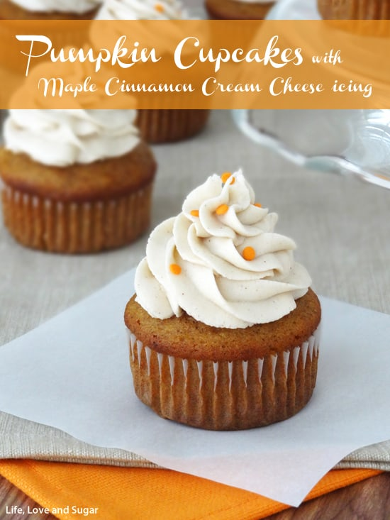 Pumpkin Cupcakes with Maple Cinnamon Cream Cheese Icing at Life, Love ...