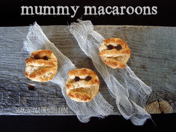 Easy coconut mummy macaroons at shakentogetherlife.com