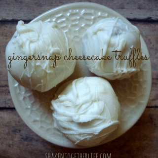 An easy no-bake dessert: gingersnap cheesecake truffles at shakentogetherlife.com