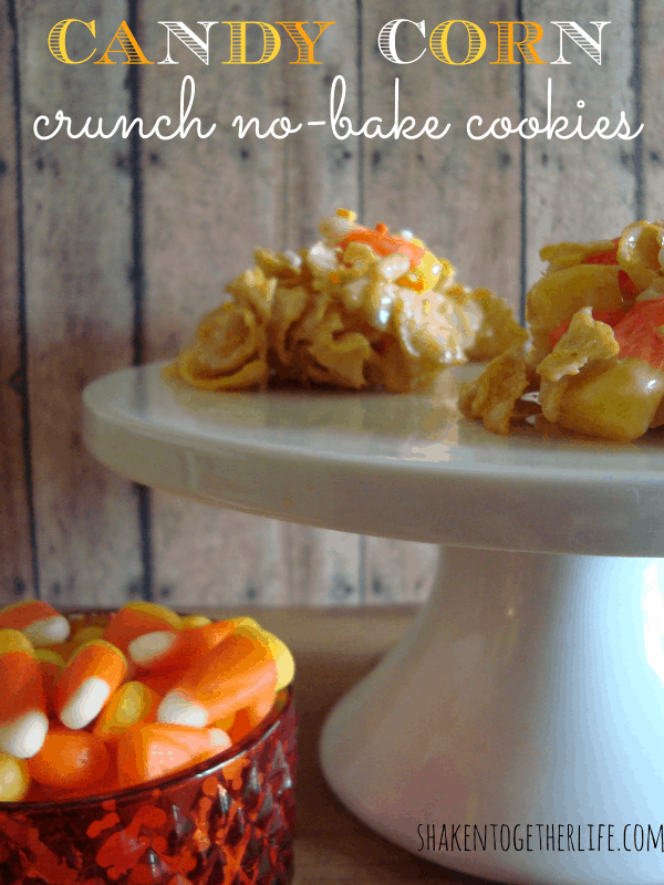 Candy corn crunch no-bake cookies at shakentogetherlife.com