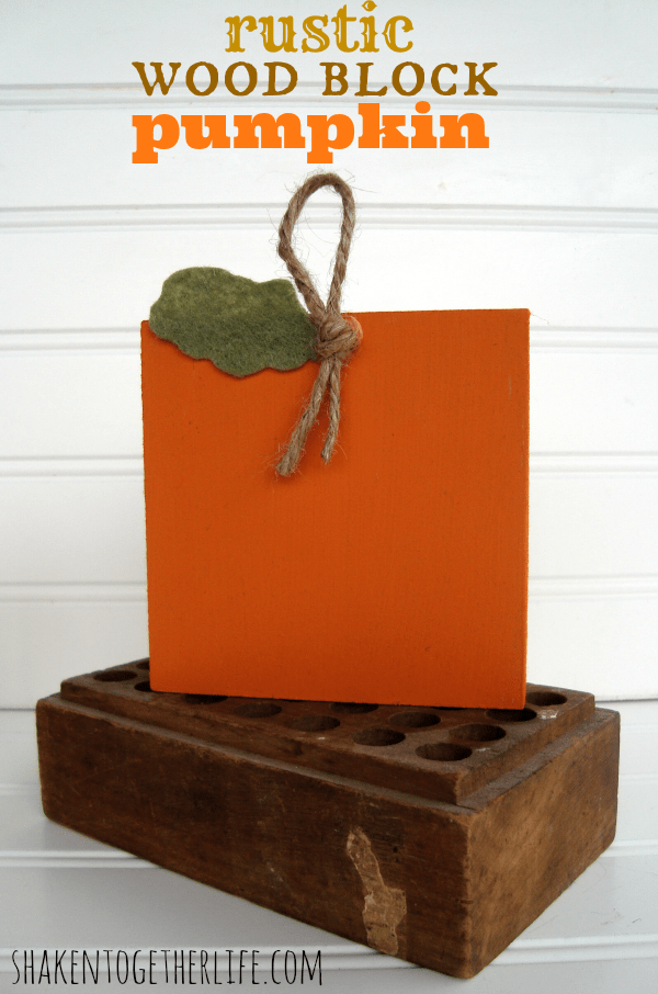 Easy painted rustic wood block pumpkins at shakentogetherlife.com