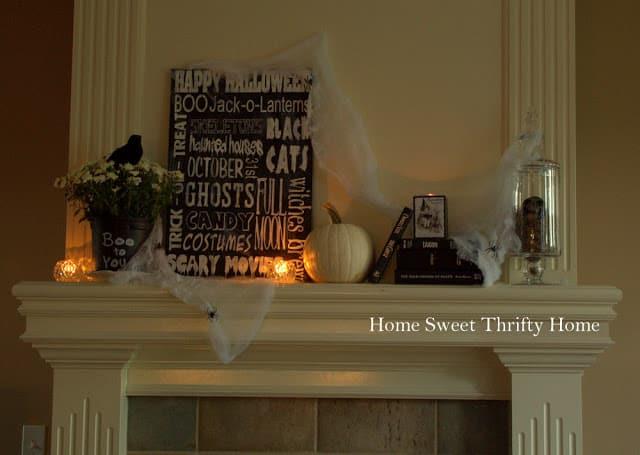 Halloween thrifty black & white halloween mantel