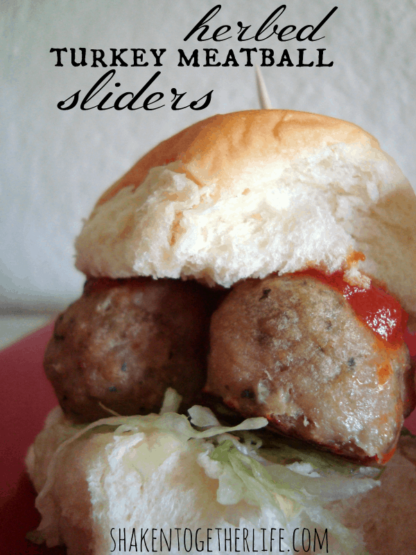 Herbed turkey meatball sliders at shakentogetherlife.com
