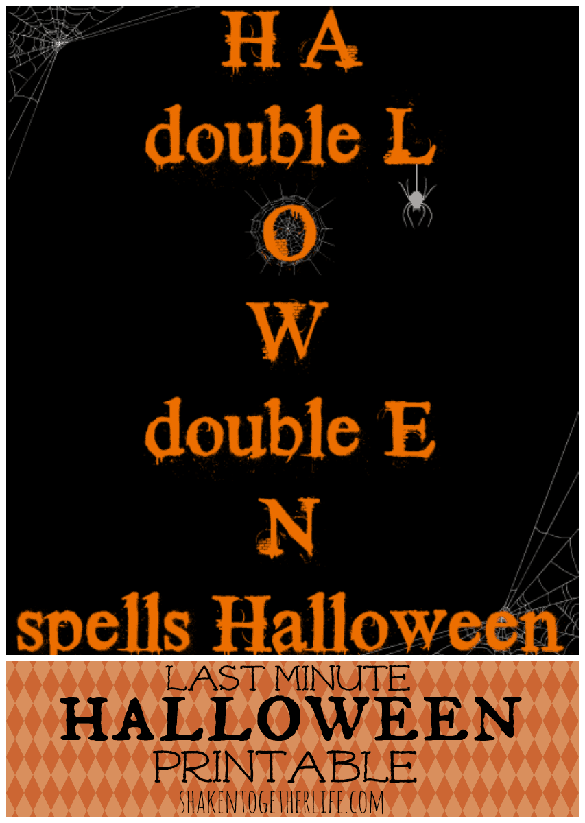 Last Minute Halloween Printable at shakentogetherlife.com