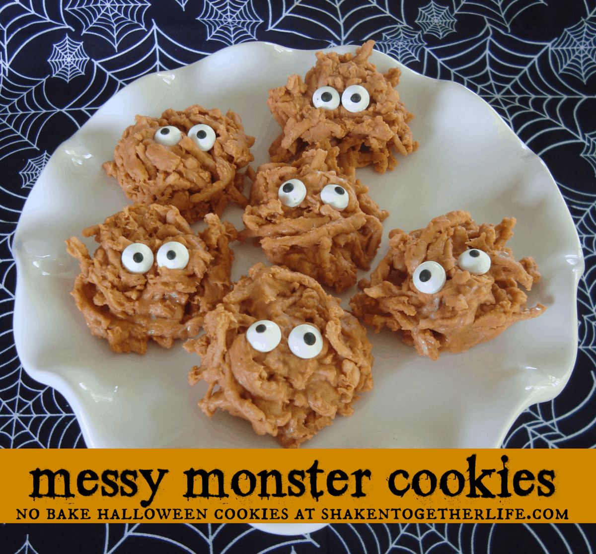 Messy monster cookies no bake Halloween cookies at shakentogetherlife.com