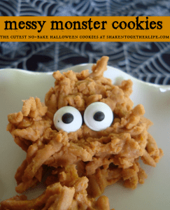 Messy monster no bake halloween cookies on a white plate
