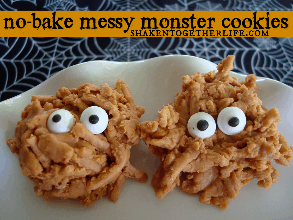 No bake Halloween cookies messy monsters at shakentogetherlife.com