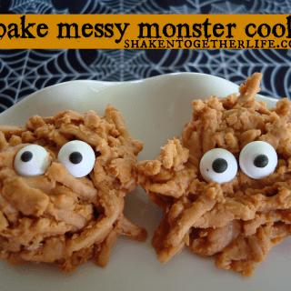 No bake Halloween cookies messy monsters at shakentogetherlife.com