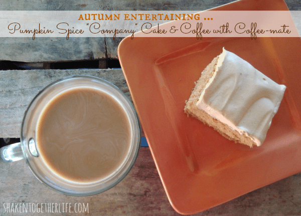 Pumpkin spice company cake & coffee with Coffee-mate at shakentogetherlife.com