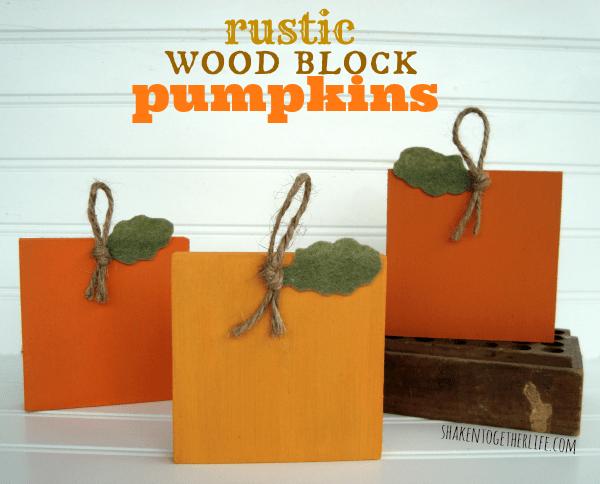 Rustic wood block pumpkins at shakentogetherlife.com