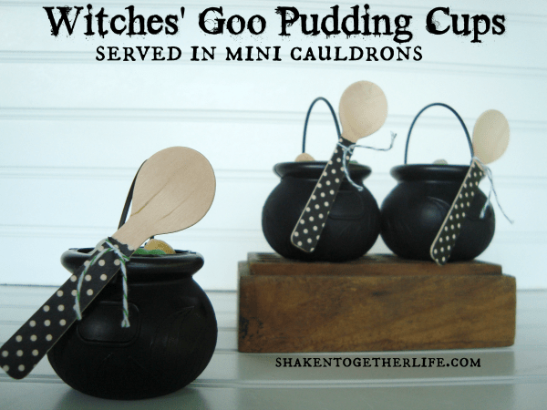 Witches goo pudding cups served in mini cauldrons at shakentogetherlife.com