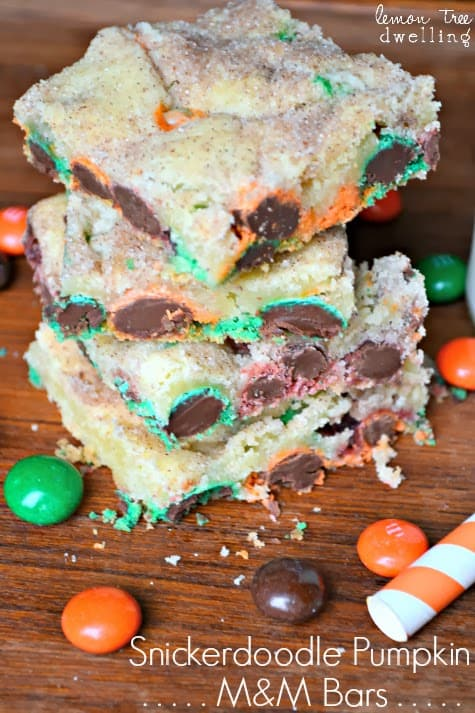 autumn Snickerdoodle Pumpkin M&M Bars