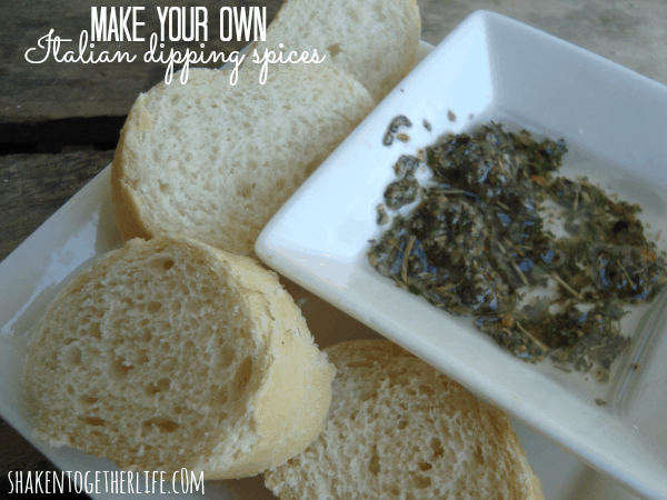 Make your own Italian dipping spices! Recipe at shakentogetherlife.com