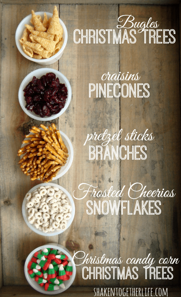 Sweet and salty christmas tree themed snack mix at shakentogetherlife.com