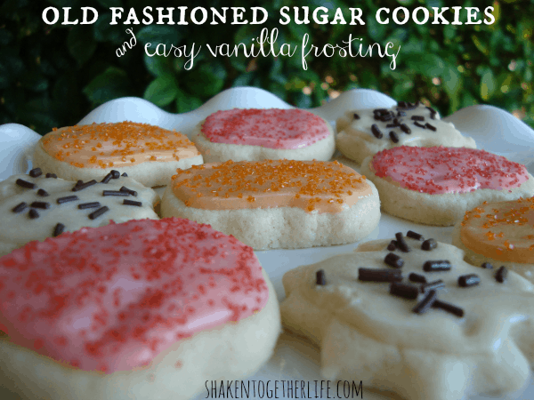 Old fashioned cut-out sugar cookies with easy vanilla frosting at shakentogetherlife.com