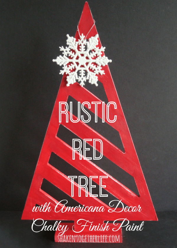 Make a rustic red Christmas tree with Americana Decor Chalky Finish Paint at shakentogetherlife.com