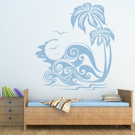 Sea Waves & Palm Tree Decal