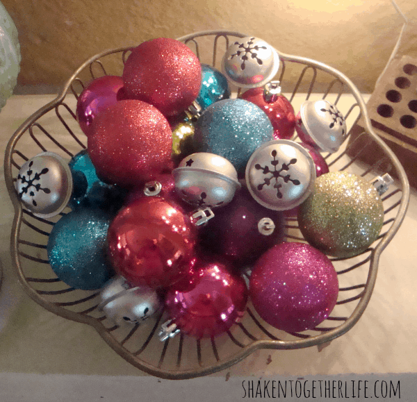 Colorful vintage bowl of ornaments and jingle bells at shakentogetherlife.com