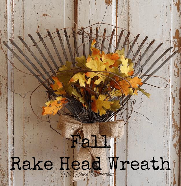 fall diy Fall Rake Head Wreath .