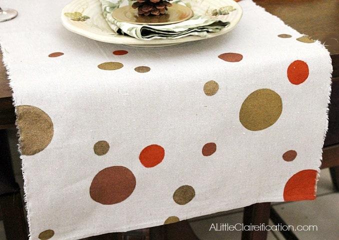 fall diy drop cloth table runner