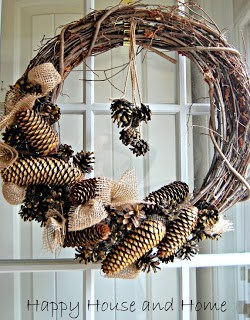 fall diy pine and burlap wreath