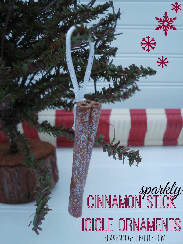 Sparkly cinnamon stick icicle ornaments - easy DIY at shakentogetherlife.com