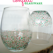 Easy DIY confetti glassware - such cute holiday gifts! Tutorial at shakentogetherlife.com