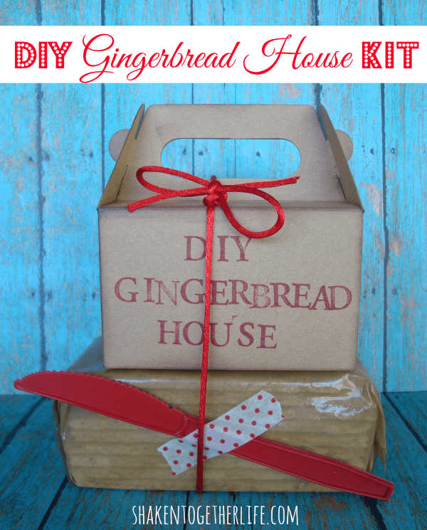 Cute kit to build your own gingerbread house at shakentogetherlife.com