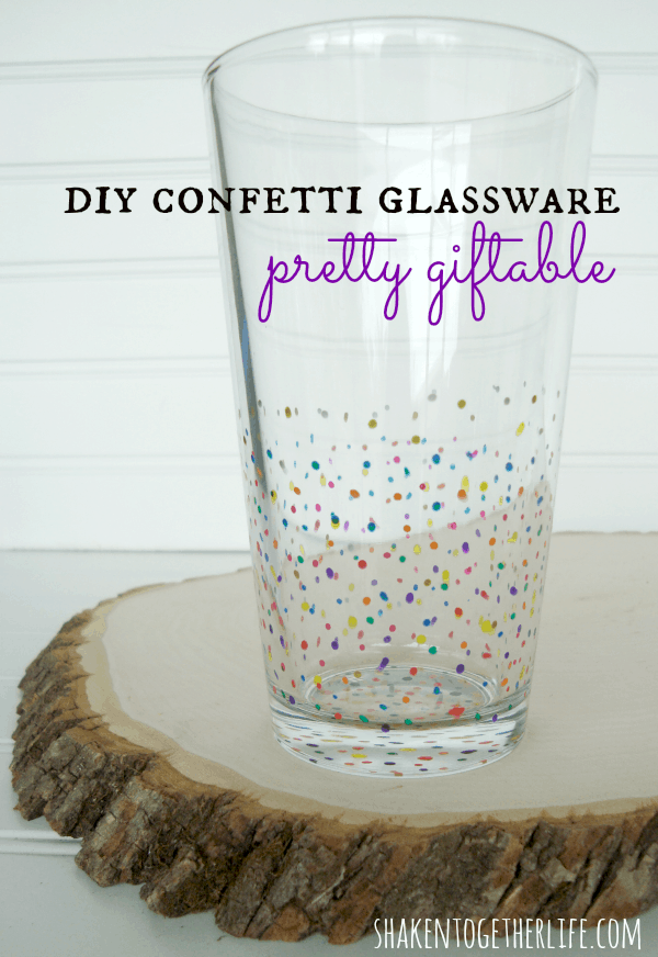 Pretty giftable DIY confetti glassware!  shakentogetherlife.com