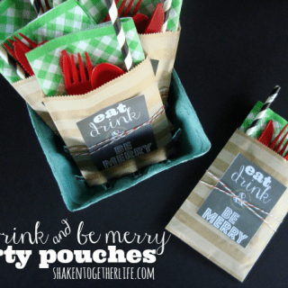 Festive Party Pouches and Eat Drink & Be Merry Printable Tags