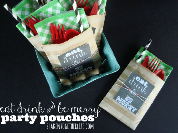 Eat drink & be merry party pouches are perfect for your casual holiday get together!