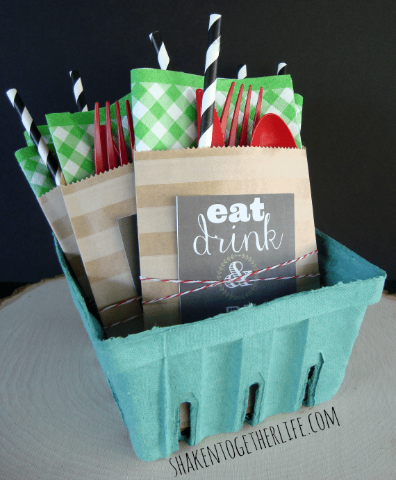 Pile party pouches in a berry basket or bucket at the end of your buffet line - easy and so cute!