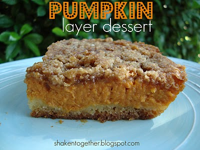 Cake, pie & crumble all come together in this delicious pumpkin layer dessert!
