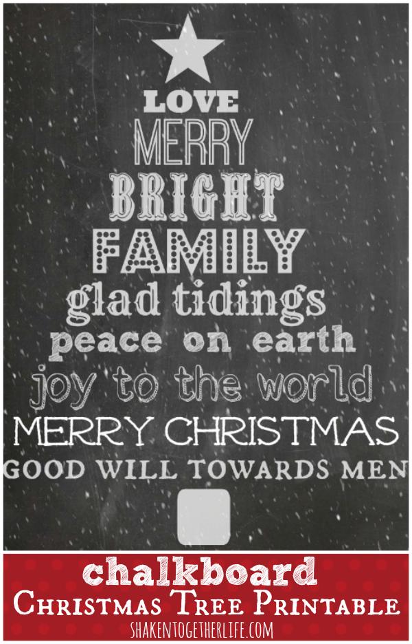 Chalkboard Christmas Tree printable at shakentogetherlife.com.  Print for a frame or even gift tags!
