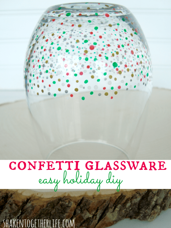 Easy DIY confetti glassware at shakentogetherlife.com