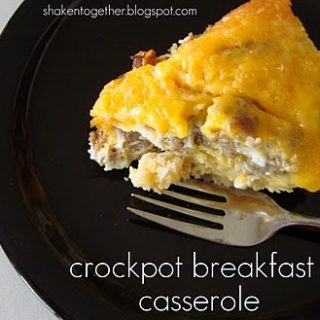 Easy crockpot breakfast casserole at shakentogetherlife.com