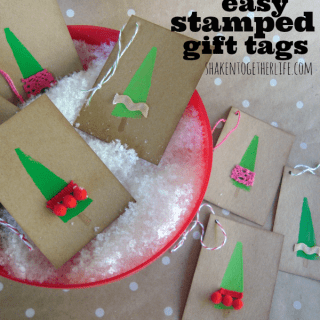 Easy Stamped Holiday Gift Tags {No Stamps Required!}